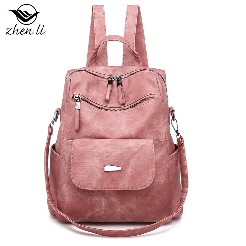 Zhenli 2019 New Style WOMEN'S Bag PU Backpack Fashion Popular Retro WOMEN'S Bag Cross Border Women Bag