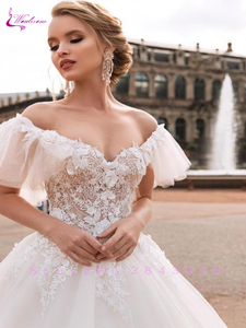 Image 3 - Waulizane V Neckline Ball Gown  Wedding Dress Off the shoulder Flare Sleeves With Chapel Train