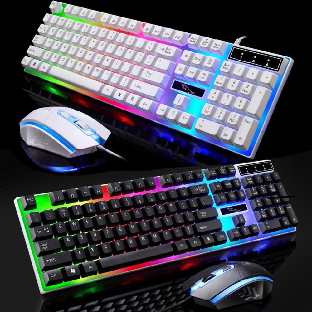 HobbyLane G21 ชุดแป้นพิมพ์เมาส์ที่มีสีสัน Backlit แป้นพิมพ์มาตรฐาน 104 ปุ่มเมาส์ USB แบบมีสาย USB คีย์บอร์ดและเ...