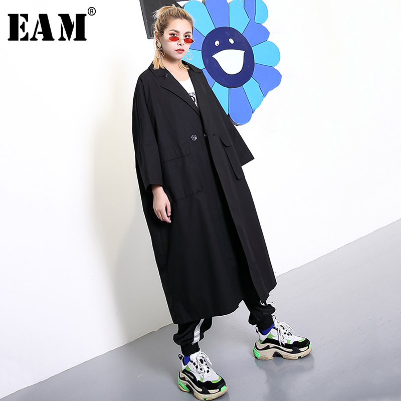 [EAM] Women Black Button Big Size Long Trench New Stand Collar  Long Sleeve Loose Fit Windbreaker Fashion  Spring 2020 1R149