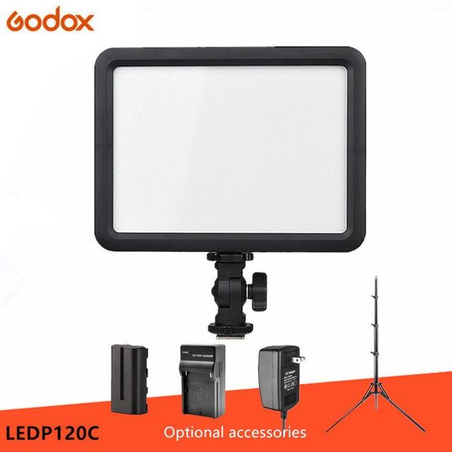 Godox ultra fino ledp120c 3300k ~ 5600k brilho ajustável estúdio de vídeo lâmpada luz contínua para câmera dv filmadora + bateria