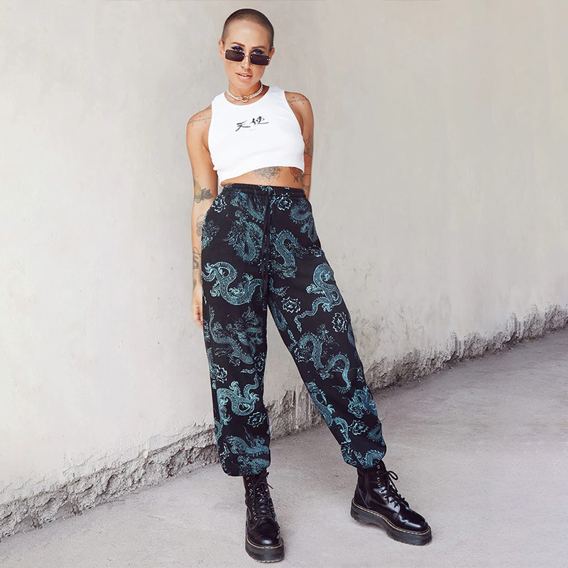 NCLAGEN Dragon Print Woman Pant High Waist Harem Pants Streetwear Loose Casual Joggers 2020 Capris Mujer Sudadera Women Trousers