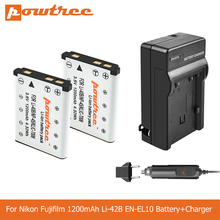 POWTREE 1.2Ah Li-40B Li40B Li-42B EN-EL10 EN EL10 ENEL10 Digital Camera Battery+Charger For Olympus Nikon Fujifilm KodaK L50 dste replacement 3 7v 1400mah battery charging dock set for en el10 fuji np 45 klic 7006