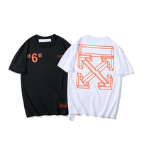 6 19ss Off White OW 3D sketch Warning line arrow Men/Women Couple Lovers models Cotton Fashion Round neck Short sleeve T shirt
