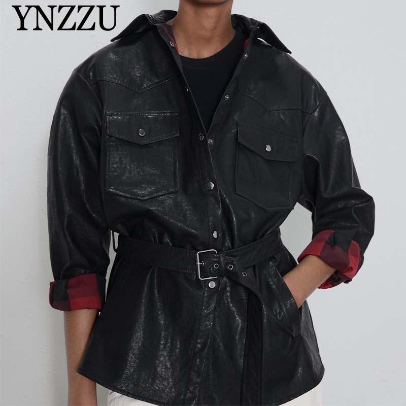 2019 Autumn Winter Women Faux   leather   jacket Black With belt Button Female Pu coat Asymmetric Fashion casual outwear YNZZU YO966