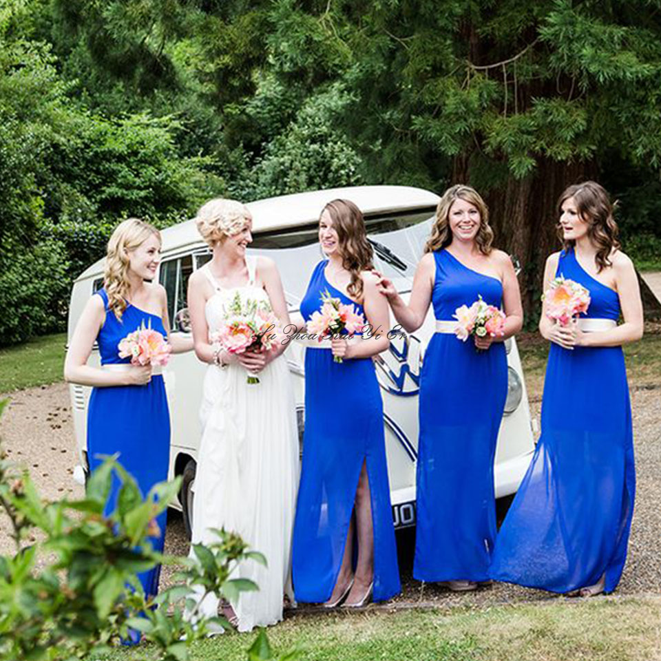 Blue Bridesmaid Dresses One Shoulder Chiffon Wedding Party Dress With White Belt Side Slit Long Prom Gowns