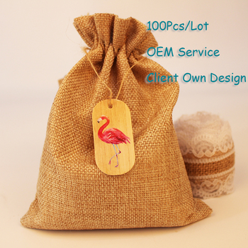 Flamingos Organza Bag Tag Natural Burlap Bag Tag White/Brown/Black/Black Kraft Paper Card Printing Hangtag Can Customized image
