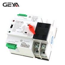 GEYA цепи 2pole ATS Мощность автоматического включения резерва 63A 100A 50/60Hz ПК Класс ATS двойной Мощность передачи Din Rail 220V