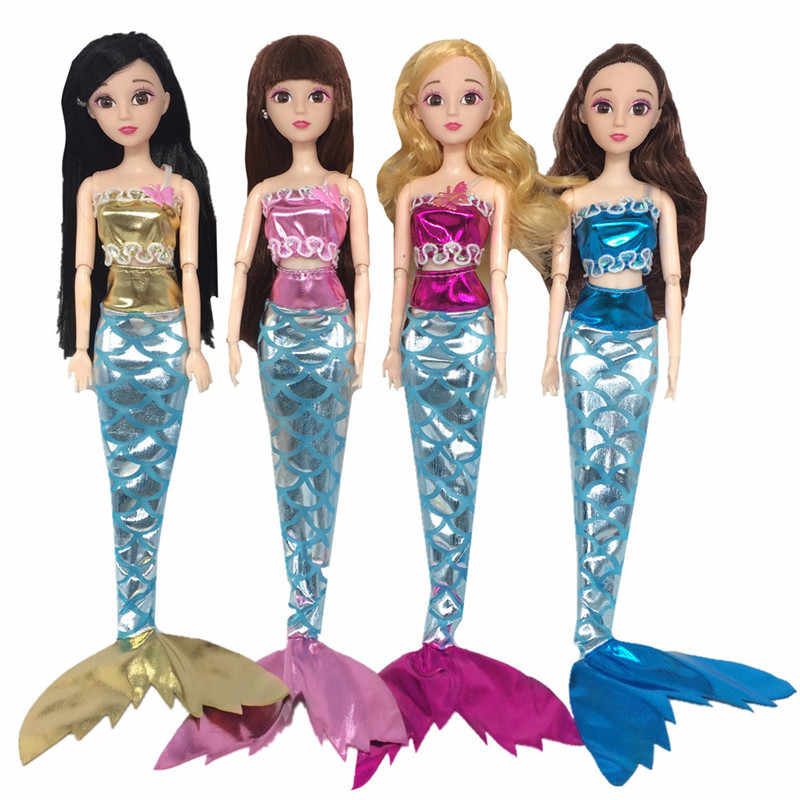 1 set Handmade Dolls Party Dress Gown Skirt Fashion Clothes For 1/6 Doll Genuine Mermaid Tail Dress Baby Toy (Doll Not Included)
