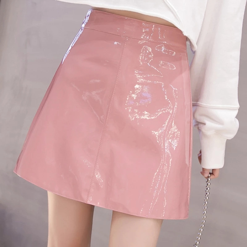 QRWR 2021 Spring Summer Women Skirt High Waist Solid Color Mini Skirts Straight PU Leather Shiny Club Cute Sexy Skirts for Women 2