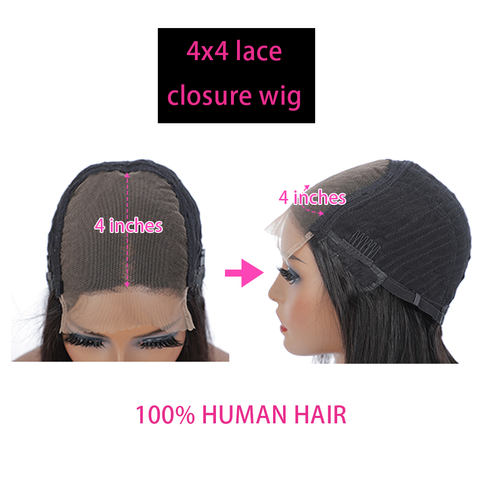 4x4 Lace Closure Wig Straight Virgin Hair Wigs Swiss Lace Frontal 8-30inches 13x4 Wigs Baby Hair  Wigs 5