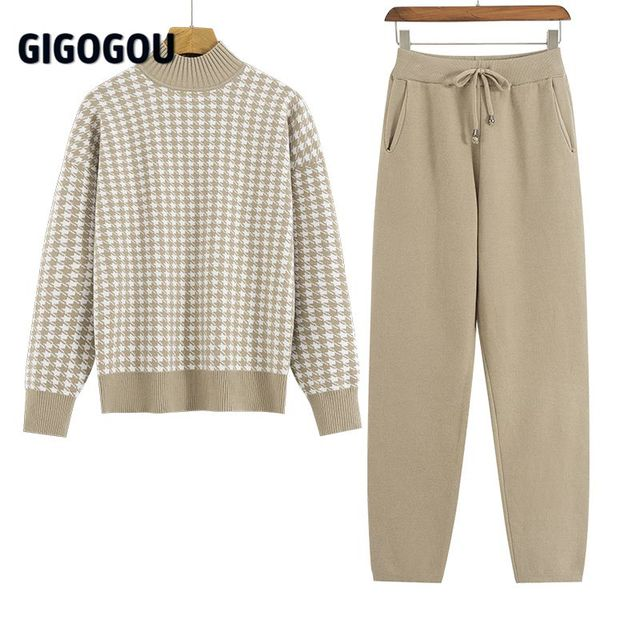 GIGOGOU Houndstooth Knit Women Sweater Costume Thick Turtleneck Winter Oversized Casual Loose Pullover Sweaters 2 Pieces Sets 1