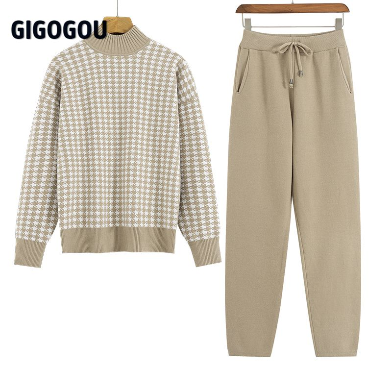 GIGOGOU Houndstooth Knit Women Sweater Costume Thick Turtleneck Winter Oversized Casual Loose Pullover Sweaters 2 Pieces Sets