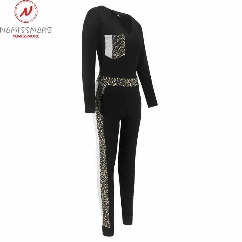 Moda tulumlar kadınlar Patchwork renk eşleştirme tasarım cepler dekor v yaka uzun kollu leopar baskı Streetwear tulumlar