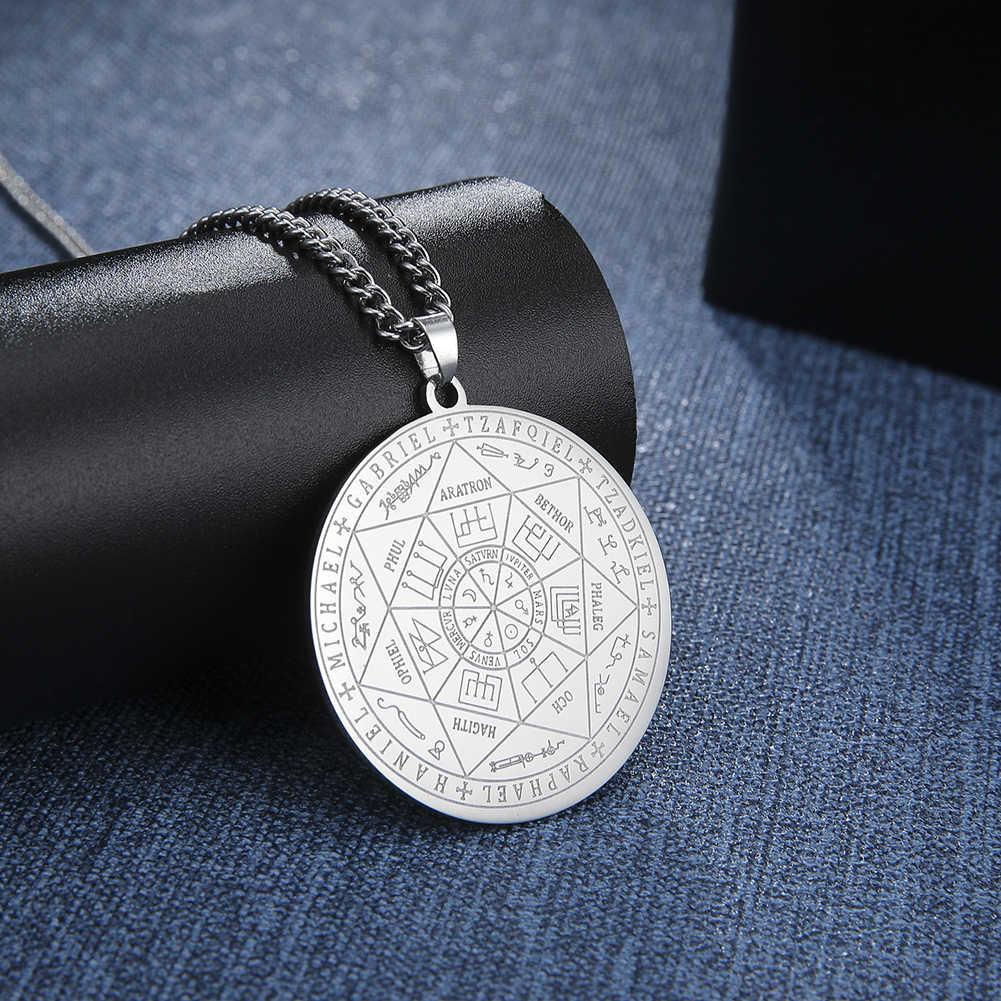 Dawapara 7 archaniołów Sigil Charm naszyjniki dla mężczyzn archaniołów Sigil naszyjniki pentagram magiczny Amulet ochrona talizman