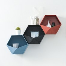 Nordic Style Geometric Hexagon Storage Rack Wall Mount Floating Shelf Display Flower Pot Holder Hanging Shelves Wall Decoration(China)