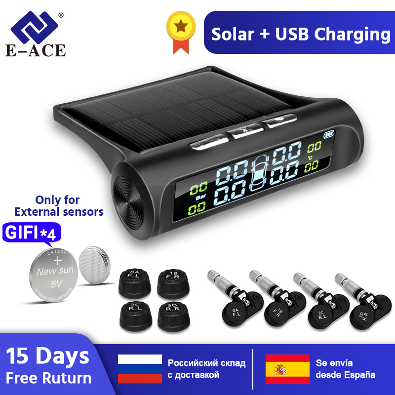 E-ACE Solar Power TPMS Car Tire Pressure Alarm Monitor System Auto Security Alarm Systems Tyre Pressure Temperature Warning(China)