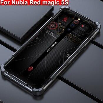 Перейти на Алиэкспресс и купить Металлический чехол для Nubia Red Magic 5S, металлическая рамка для телефона, чехол с краями, чехол RedMagic 5S чехол s, чехол + стеклянная пленка для экран...