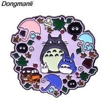P5048 Dongmanli Cat Hard Enamel Pins Brooch Women Lapel Backpack Bags Badge Anime Jewelry Cute Gifts enamel cat cactus pattern brooch