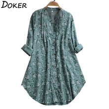 2020 Summer Floral Print Blouse Women Long Sleeve V-neck Top