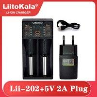 Liitokala-cargador inteligente de batería de iones de litio, enchufe de 5V y 2A, 18650 V, 1,2 V, 3,7 V, 3,2 V, AA, 3,85, 26650, 10440, 14500, 16340,