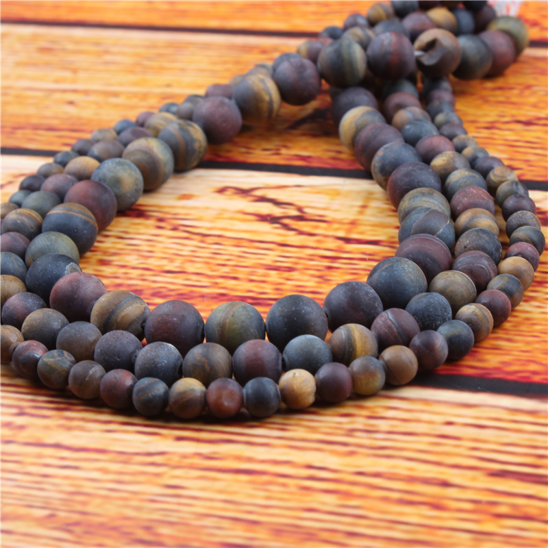 Three Color Tiger Natural Stone Bead Round Loose Spaced Beads 15 Inch Strand 4/6/8/10/12mm For Jewelry Making DIY Bracelet
