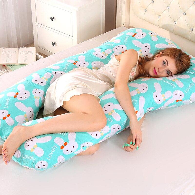Almohada de apoyo para dormir para mujeres embarazadas, cuerpo PW12 100%, algodón estampado de conejo en forma de U, almohadas de maternidad, durante el embarazo