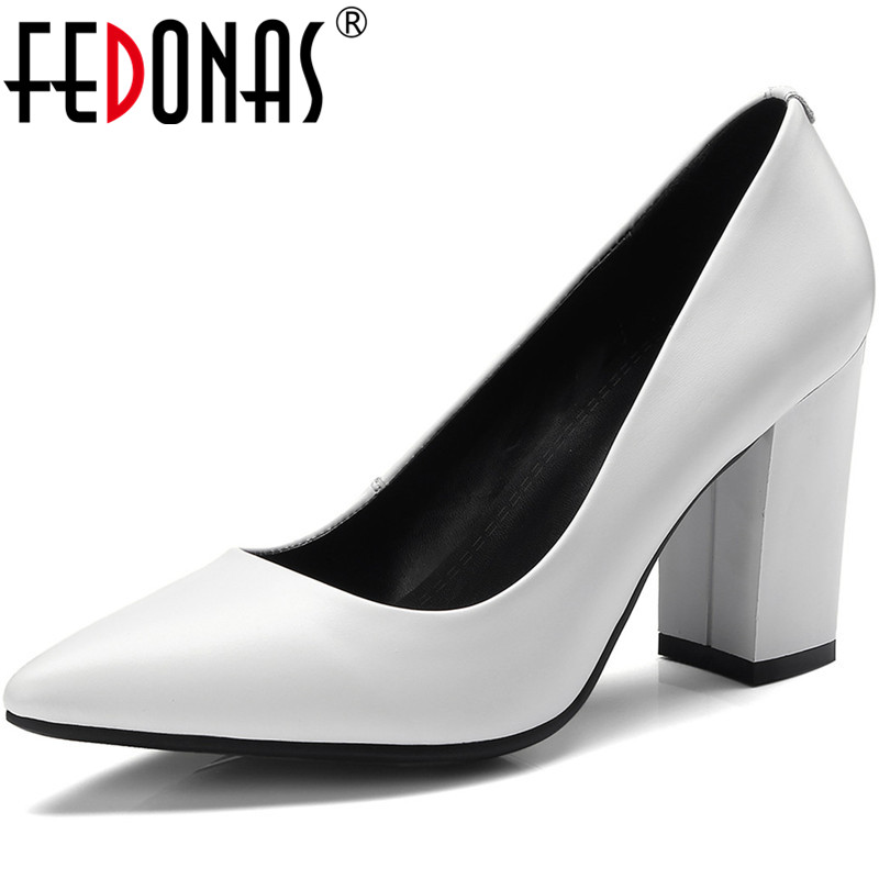 FEDONAS New Arrival Women Genine Leather Point Toe Shoes Spring Summer Party  Wendding Brand  Shoes Woman