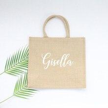 Saco de serapilheira personalizado sacola de dama de honra presente de casamento bem-vindo bolsa de dama de honra juta praia compras bolsa presente de casamento