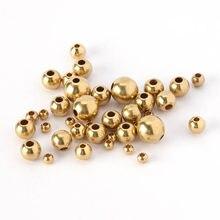 MINGXAUN 50 pcs/lot 3/4/5/6/8mm argent or laiton entretoise perles boule perle en vrac pour bracelets à breloques bijoux à bricoler soi-même faisant des composants