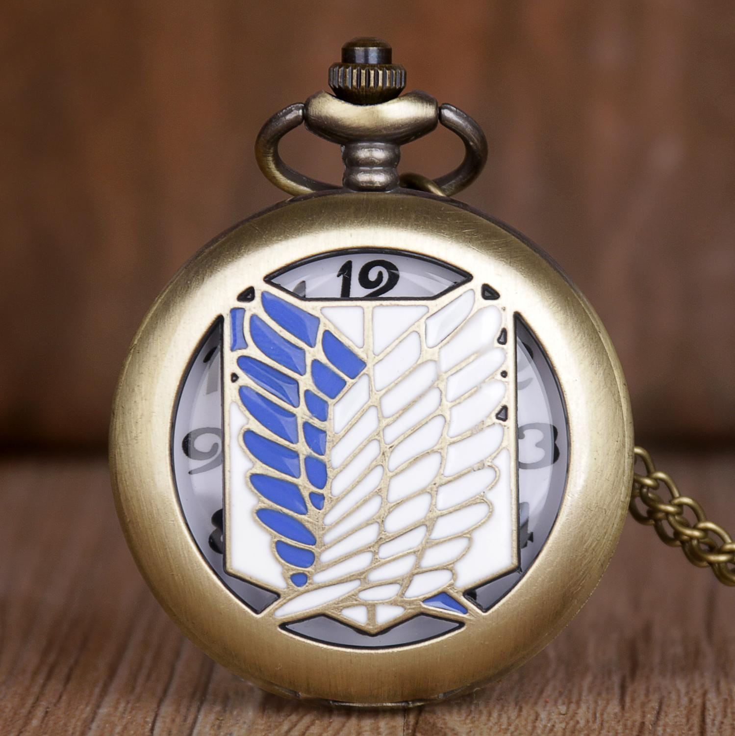 Hot Saling Retro Bronze Pocket Watch Attack On Titan Wings Of Liberty Clamshell Design Quartz Pocket Watch For Men Women