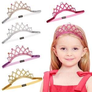 Child Rhinestones Princess Headband Elastic Hair Crown Tiara Cosplay Accessories Hair Band Accessory Party Gift Hair Jewelr