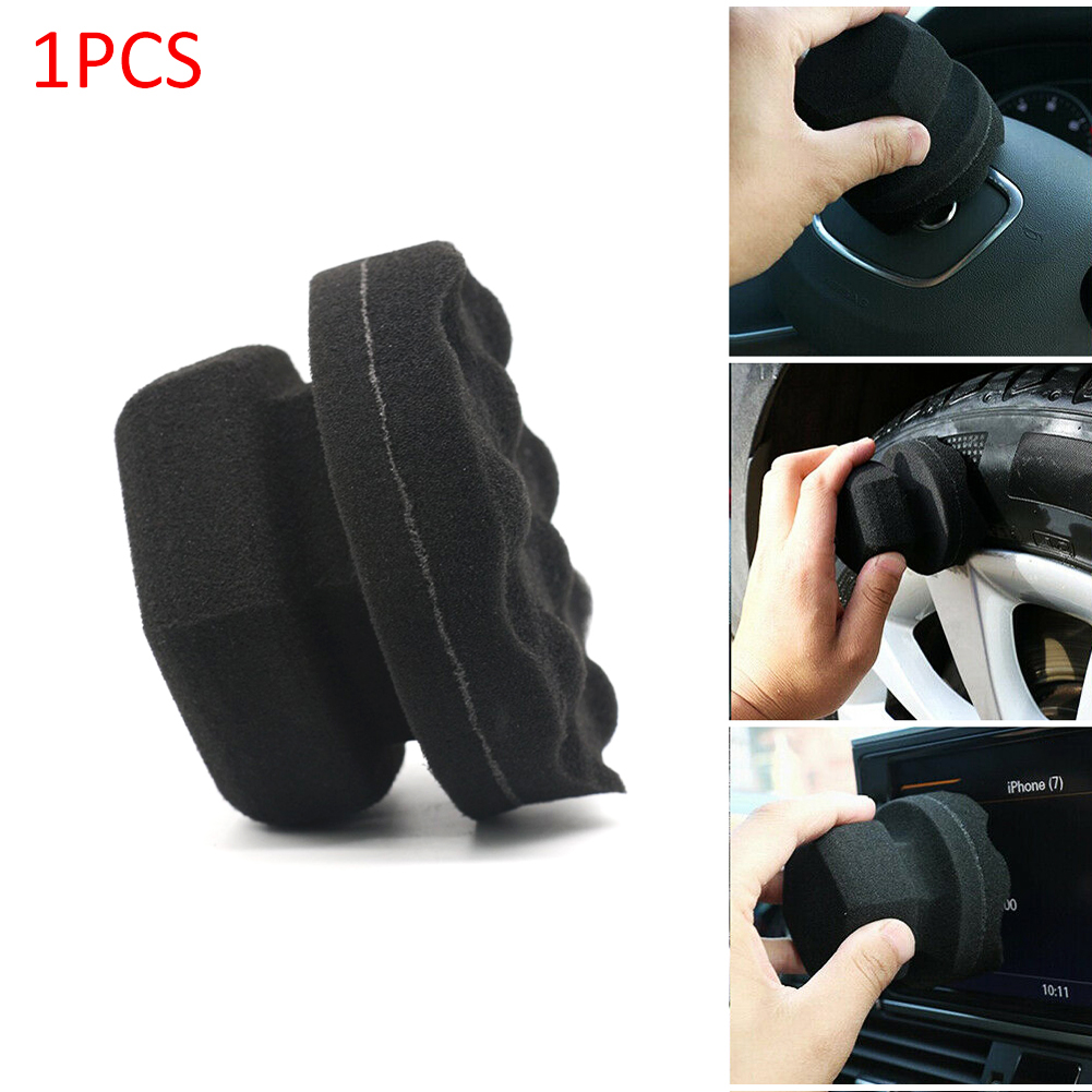 Car Accessories Wave Type Dressing Hex Grip Applicator Handheld Tire Waxing Sponge Tools For Tire Or Leather Waxing