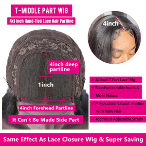 Image 4 - BeautyForever Malaysian Curly Hair Wig Lace Front Wigs 4x1 T Part Lace Human Hair Remy Wig Pre Plucked With Baby Hair
