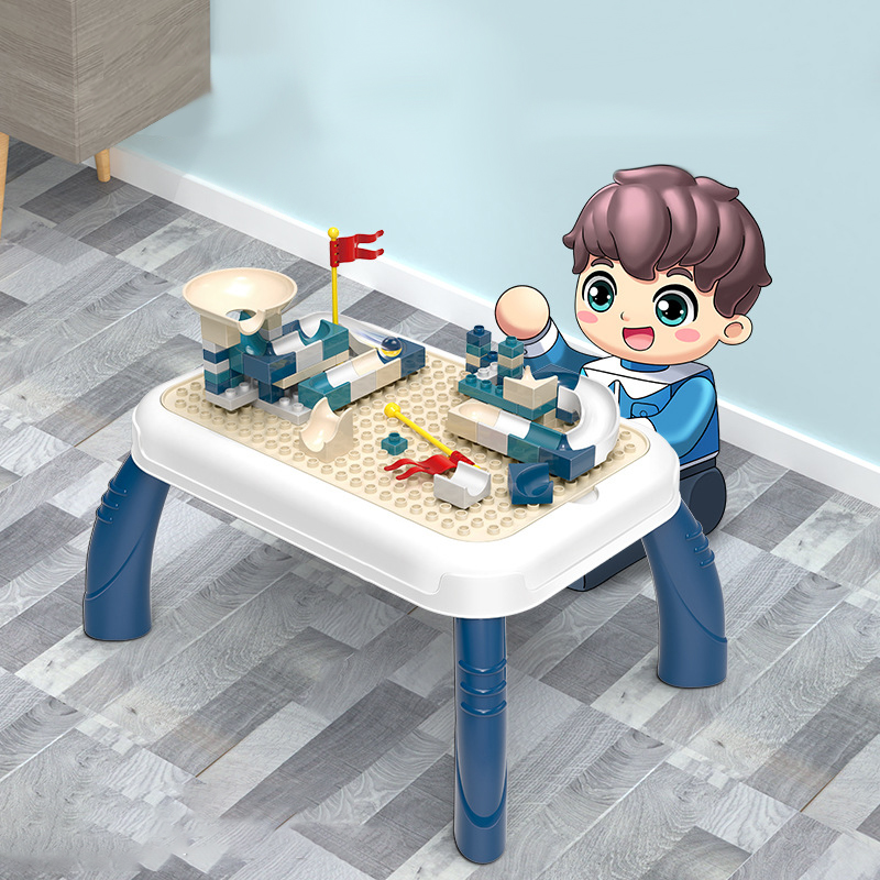 Children Table for Build Blocks and Painting Baby Study Desk Have Fun Desk for Kids with Blocks and Drawing Board Children Table