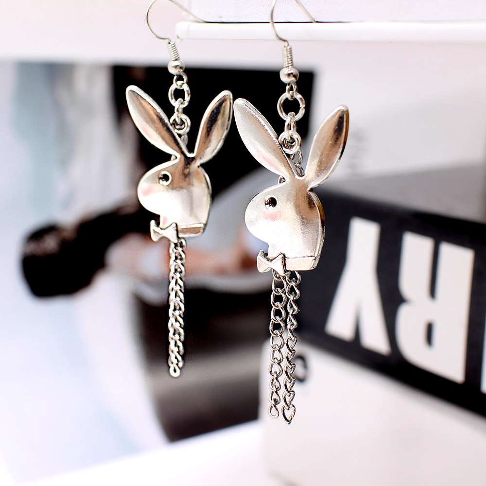 punk funny animals bunny dangle earring vintage hiphop rabbit head drop earrings for women girls gifts brincos para as mulheres 5
