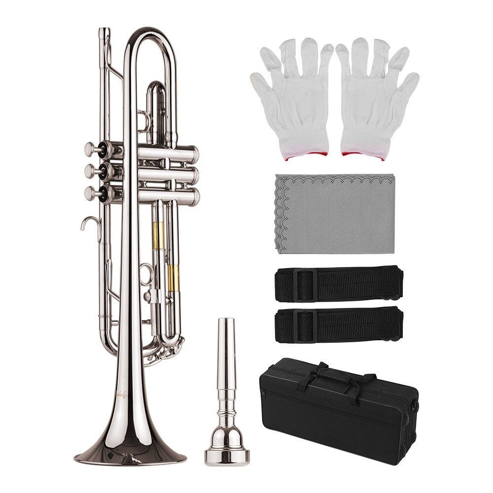 Muslady en laiton matériel nickelé Standard Bb trompette Instrument à vent avec embout porter sac gants chiffon de nettoyage