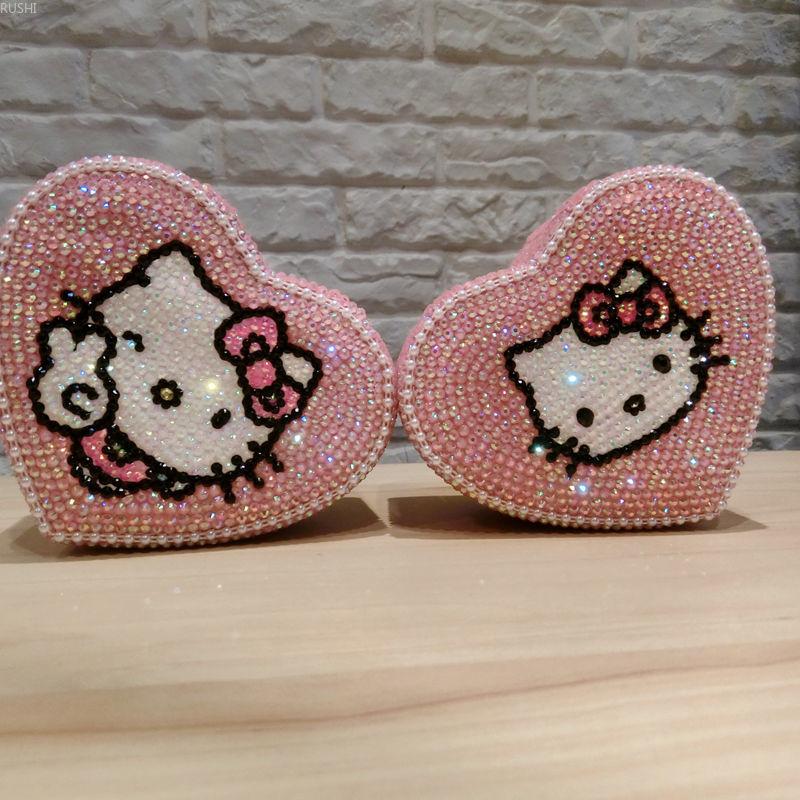 2 couches en forme de coeur Kitty organisateur de bijoux brillant strass perle boîtes à bijoux rose porte-boucle d'oreille Kitty chat paquet chanceux
