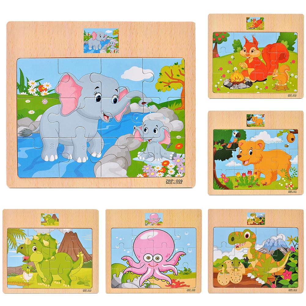 Wooden Colorful Dinosaur Zebra Animal Jigsaw Puzzles Board Intelligent Kids Toy Wooden Puzzle Board Toy Cartoon Animal Pattern