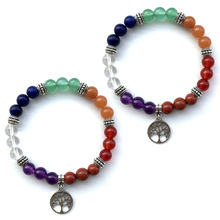 Fashion Natural Stone Bracelets Bangles for Women Men 8mm Red Dong Ling Hanging Life Tree Yoga 7 Chakra Bracelet