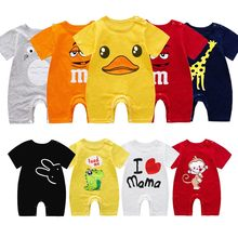 Newborn Baby Summer Short Sleeved Rompers 100% Cotton Unisex Baby Cartoon Jumpsuit One Year Boy Climbing Clothes Ha Pajamas Out
