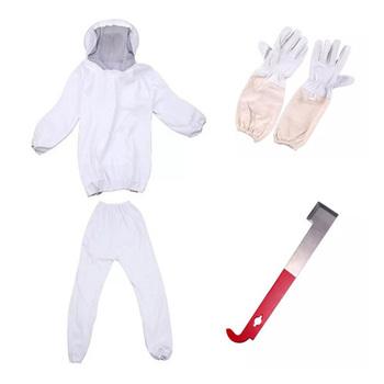 Biały Split odzież pszczelarska profesjonalna ochrona pszczół kombinezon pszczelarski z rękawiczkami i pszczoła narzędzie pszczelarskie metoda pszczelarska tanie i dobre opinie CN (pochodzenie) 100 poliestru Beekeeper Suit