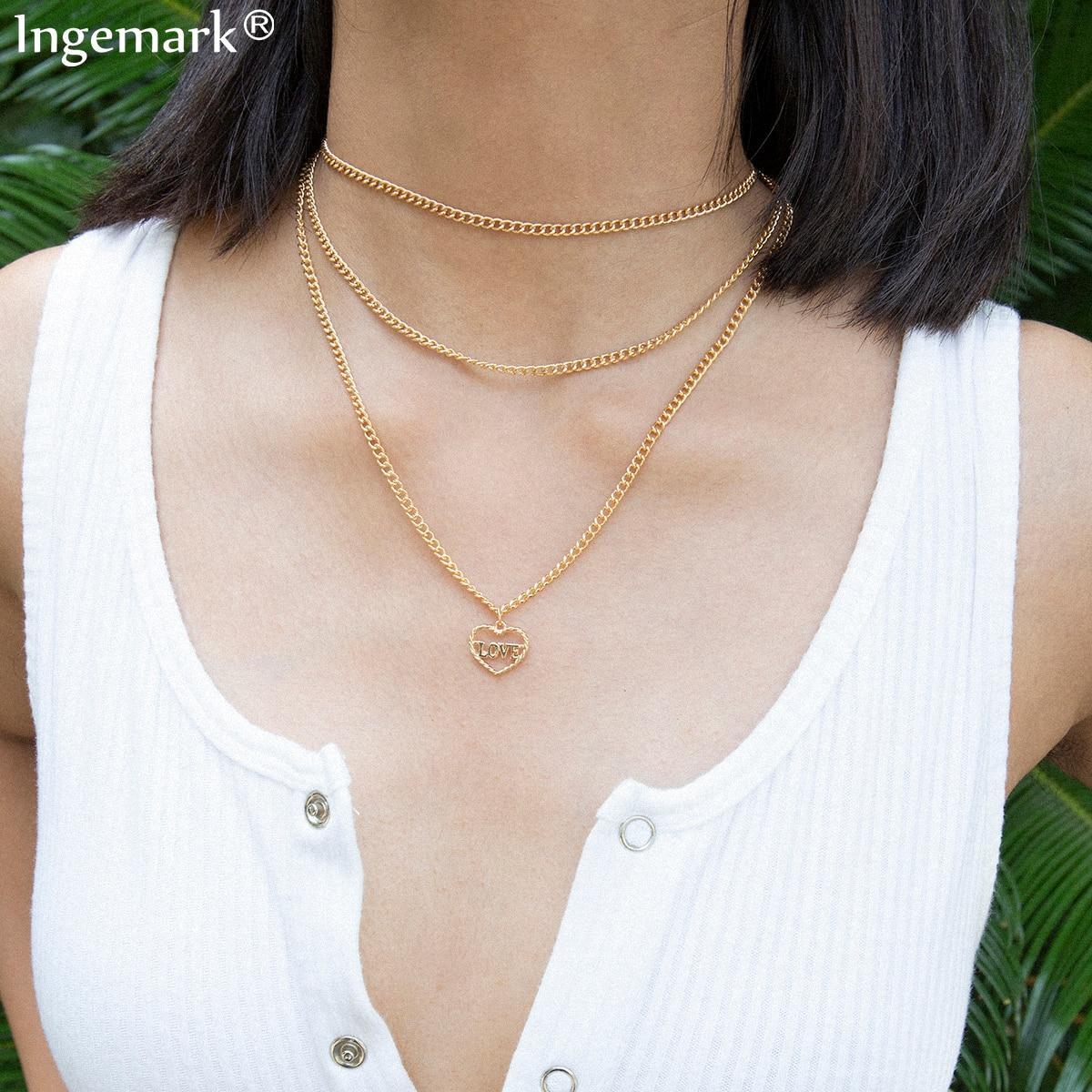 Punk Multi Layer LOVE Heart Pendant Choker Necklace for Women Girlfriend Steampunk Gothic Thin Chain Festival Jewelry