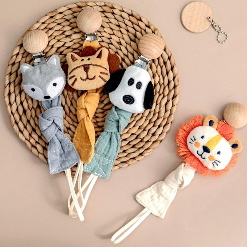 1pc Baby Dummy Schnuller Kette Clip Baumwolle Tuch Plüsch Puppen Tier Holz Nagetier Brustwarzen Halter Neugeborenen Spielzeug Beißring Zubehör