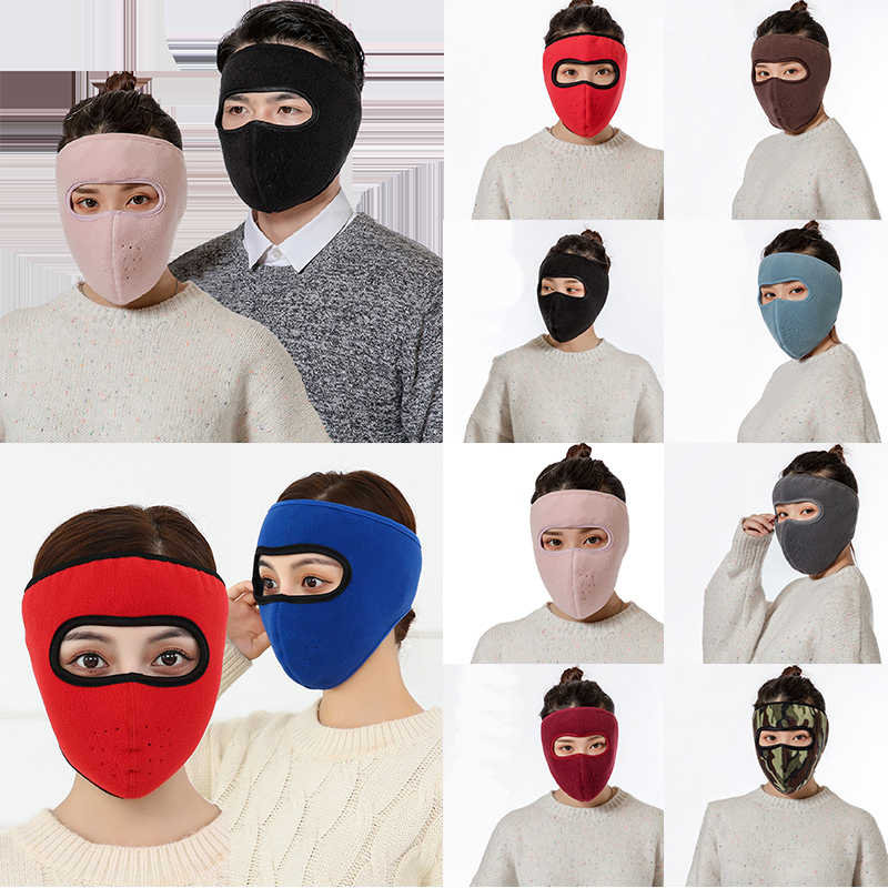 Unisex Winter Warm Fleece Mask Solid Color Earmuffs Riding Ski Snowboard Thick Warm Half Face Mask Accessories