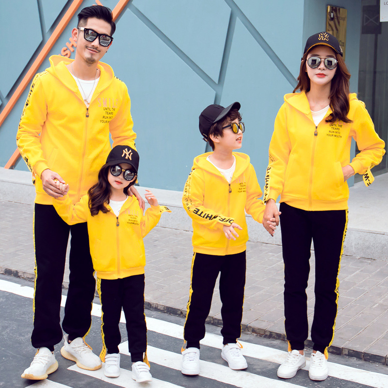Family Matching Set Autumn Winter Dad Son Mom Daughter Coat+Pants Family Look Sport Suits Students Uniforms Couples Matching Set