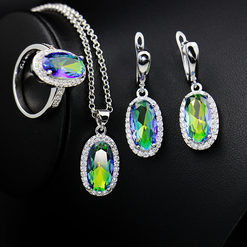 GZJY Women Large Crystal Stones Party Jewelry Sets 925 Silver Earrings Necklace Pendant Ring Sets for Christmas gift(China)