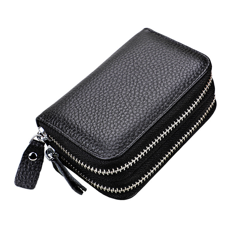Genuine Leather Rfid Women's Zipper Card Wallet Small Change Wallet Purse For Female Short Wallets With Card Holders Woman Purse