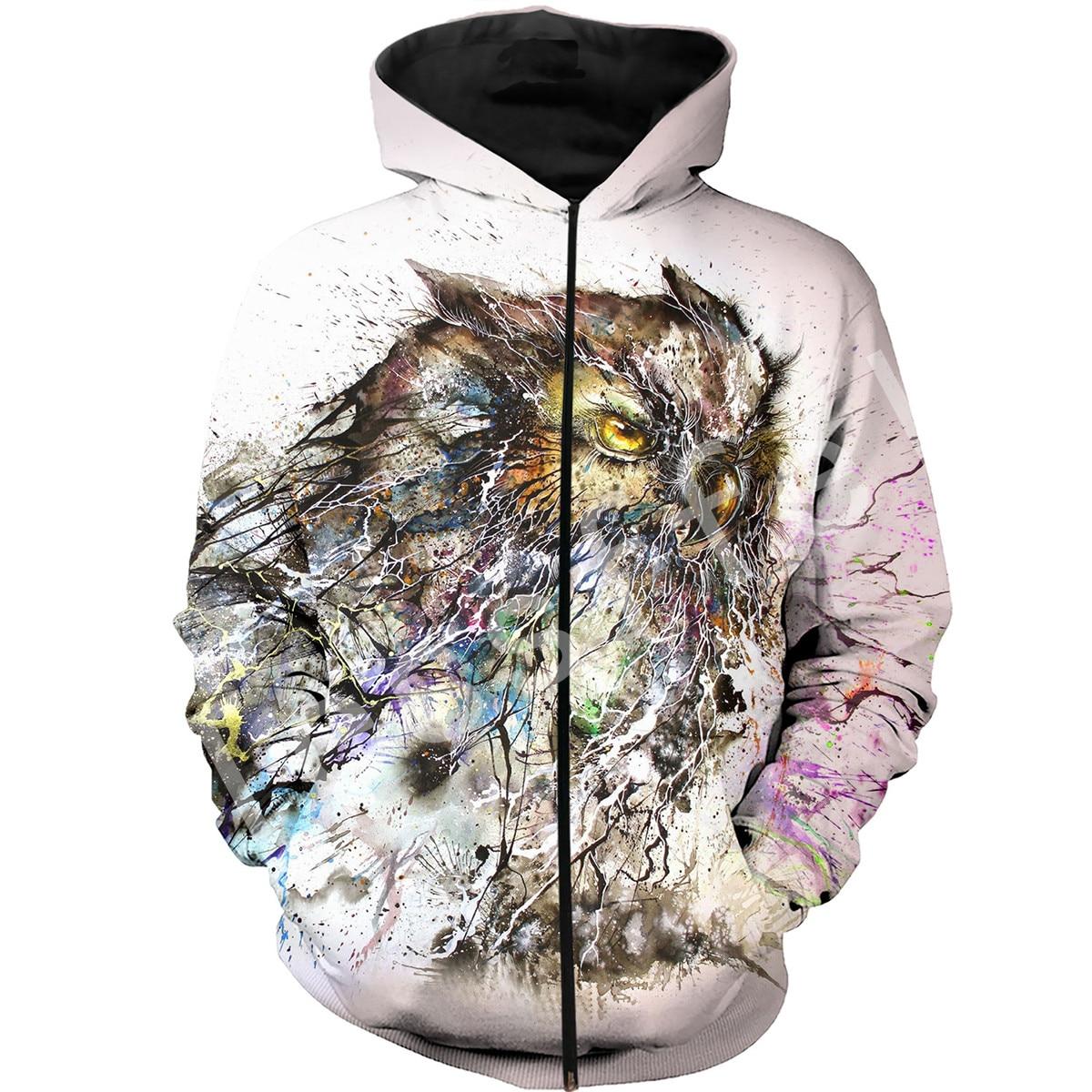 Tessffel Animal owl Harajuku MenWomen HipHop 3Dfull Printed Sweatshirts Hoodie shirts Jacket Casual fit colorful camo Style 1 in Hoodies amp Sweatshirts from Men 39 s Clothing