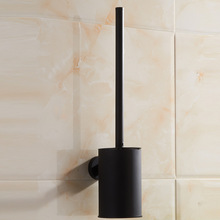 Vidric 304 stainless steel bathroom toilet brush holder black , Wall mounted toilet brush set Hotel rubber paint creative